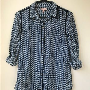 Juicy Couture Blue Printed Silk Shirt Size Small